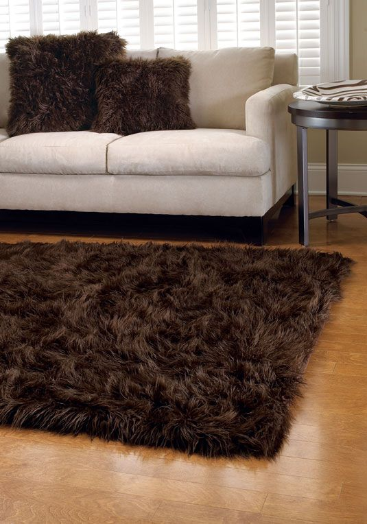 Chocolate Mongolian Lamb Area Rugs
