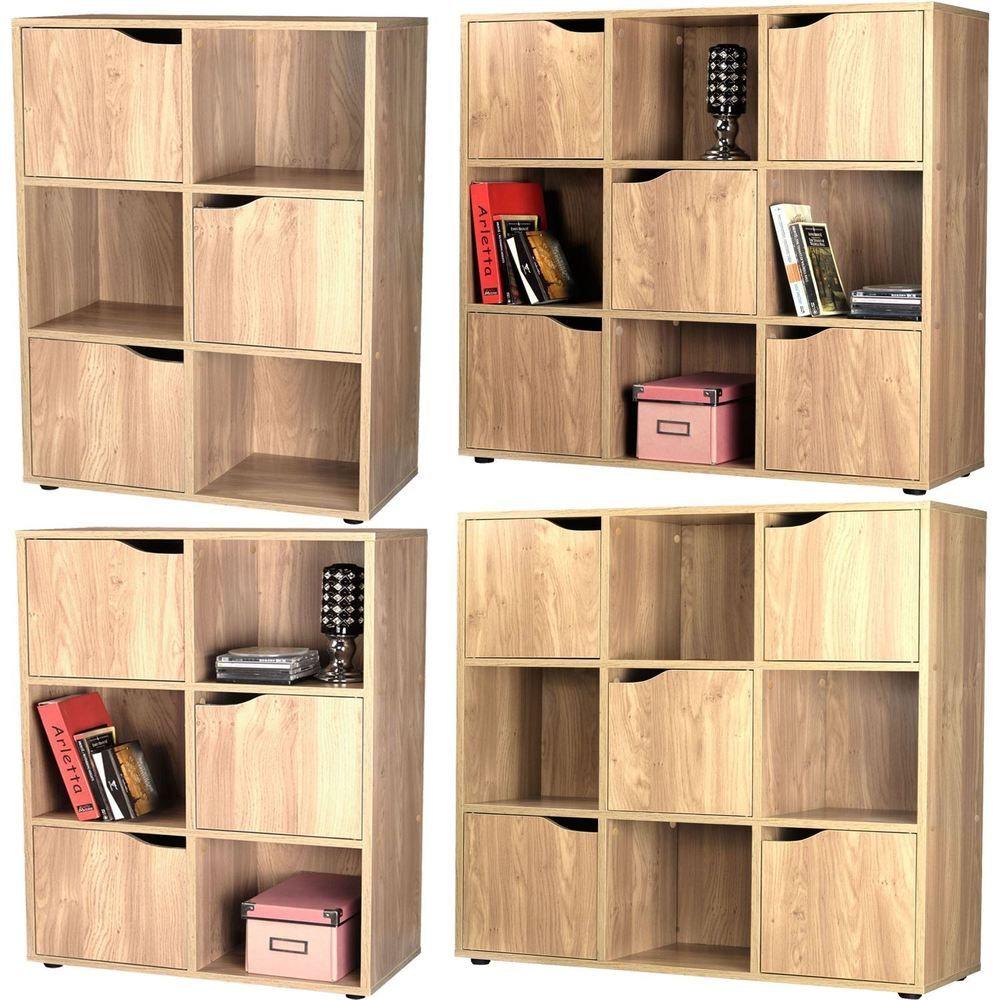 3/5 Door Oak 6/9 Cube Wooden Bookcase Storage Display Shelving Book Shelves & 3/5 Door Oak 6/9 Cube Wooden Bookcase Storage Display Shelving Book ...