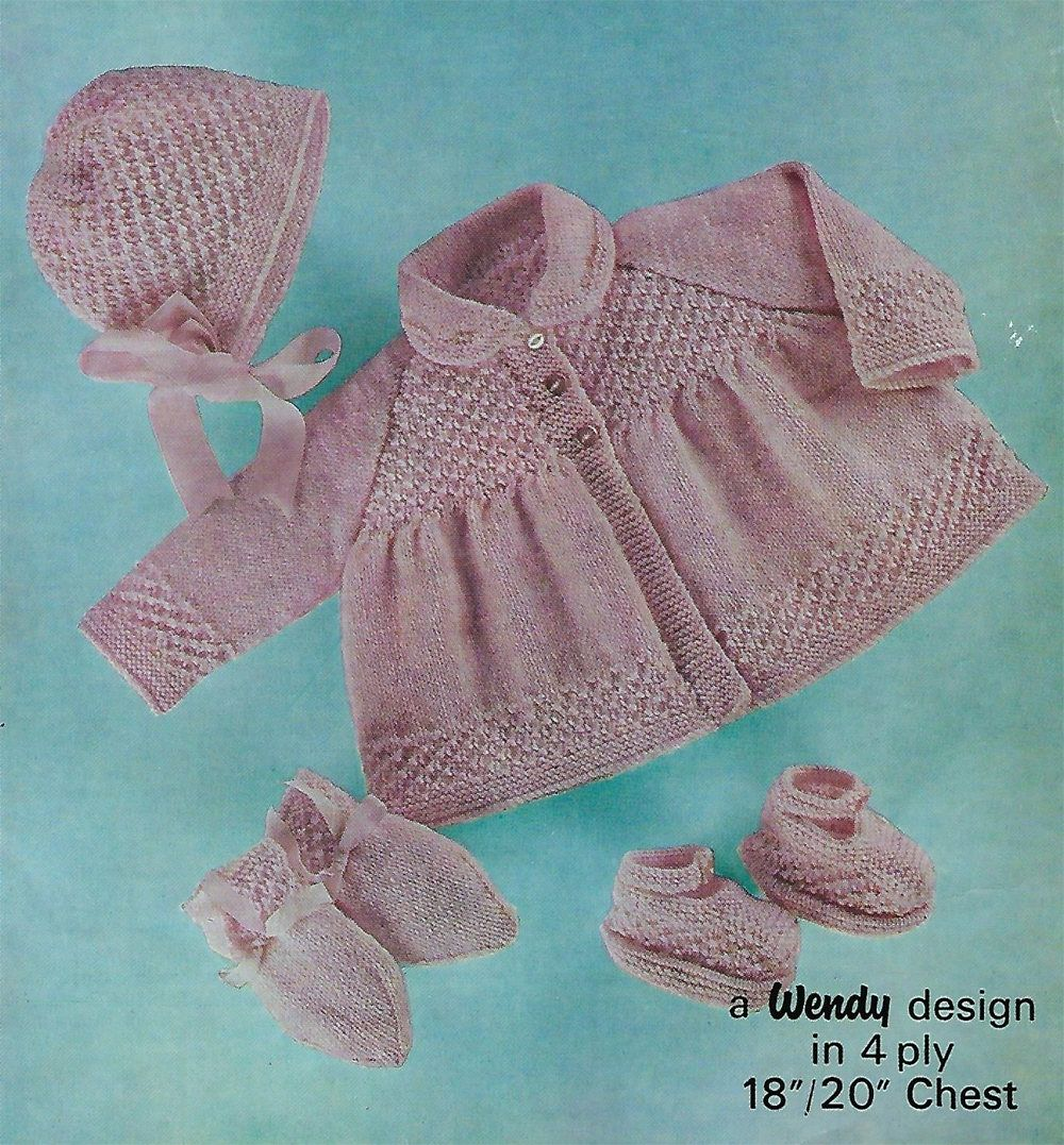 Instant PDF Digital Download baby pram set coat bonnet mittens shoes ...