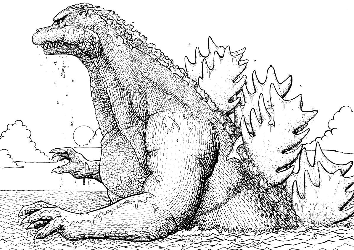 Free Godzilla Coloring Page