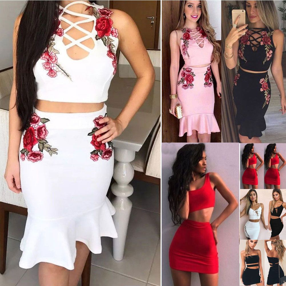 6d33e91c921 Sexy Women 2 PCS Bodycon Two Piece Crop Top and Skirt Set Bandage Dress  Party | eBay
