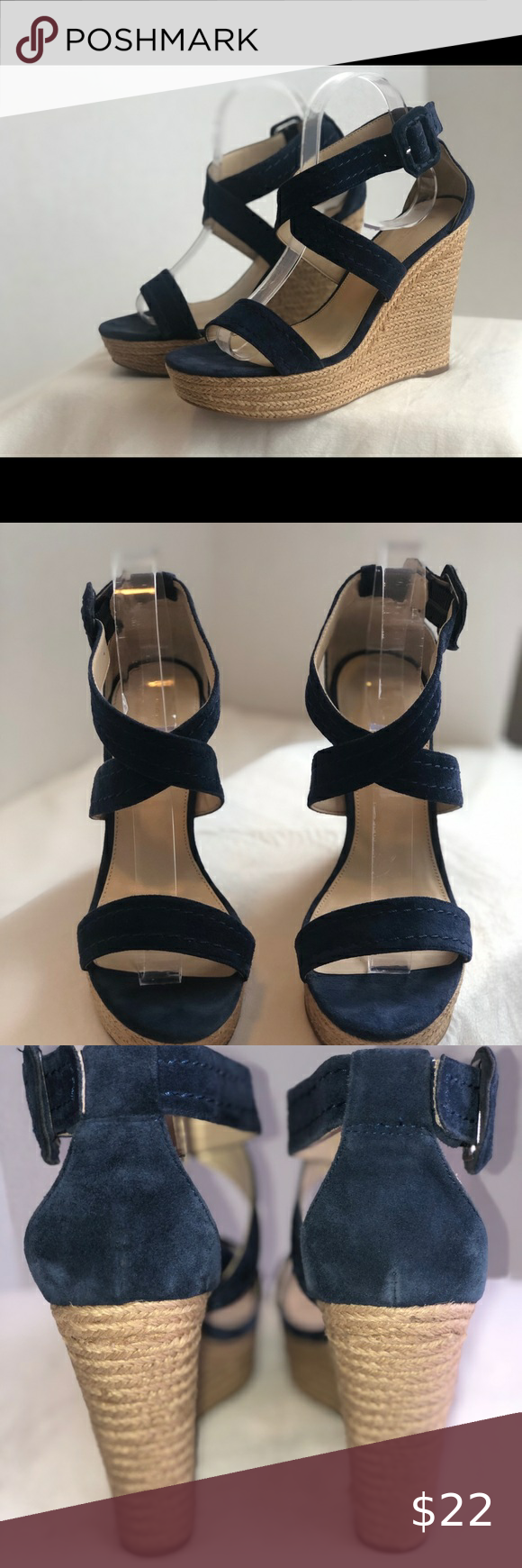 Marc Fisher- Navy Sandal Wedge in 2020