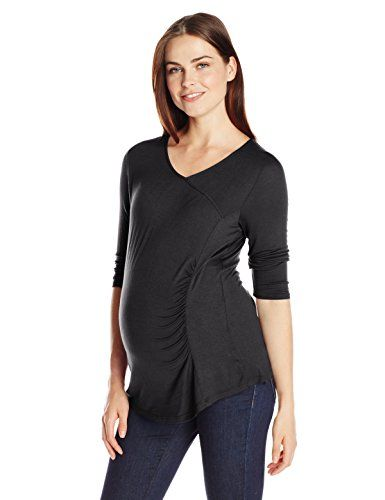 67936c8fb8 Three Seasons Maternity 34 Sleeve Surplice Solid Front Rouche Top Black  Medium   Learn more by visiting the image link.(It is Amazon affiliate  link)   ...