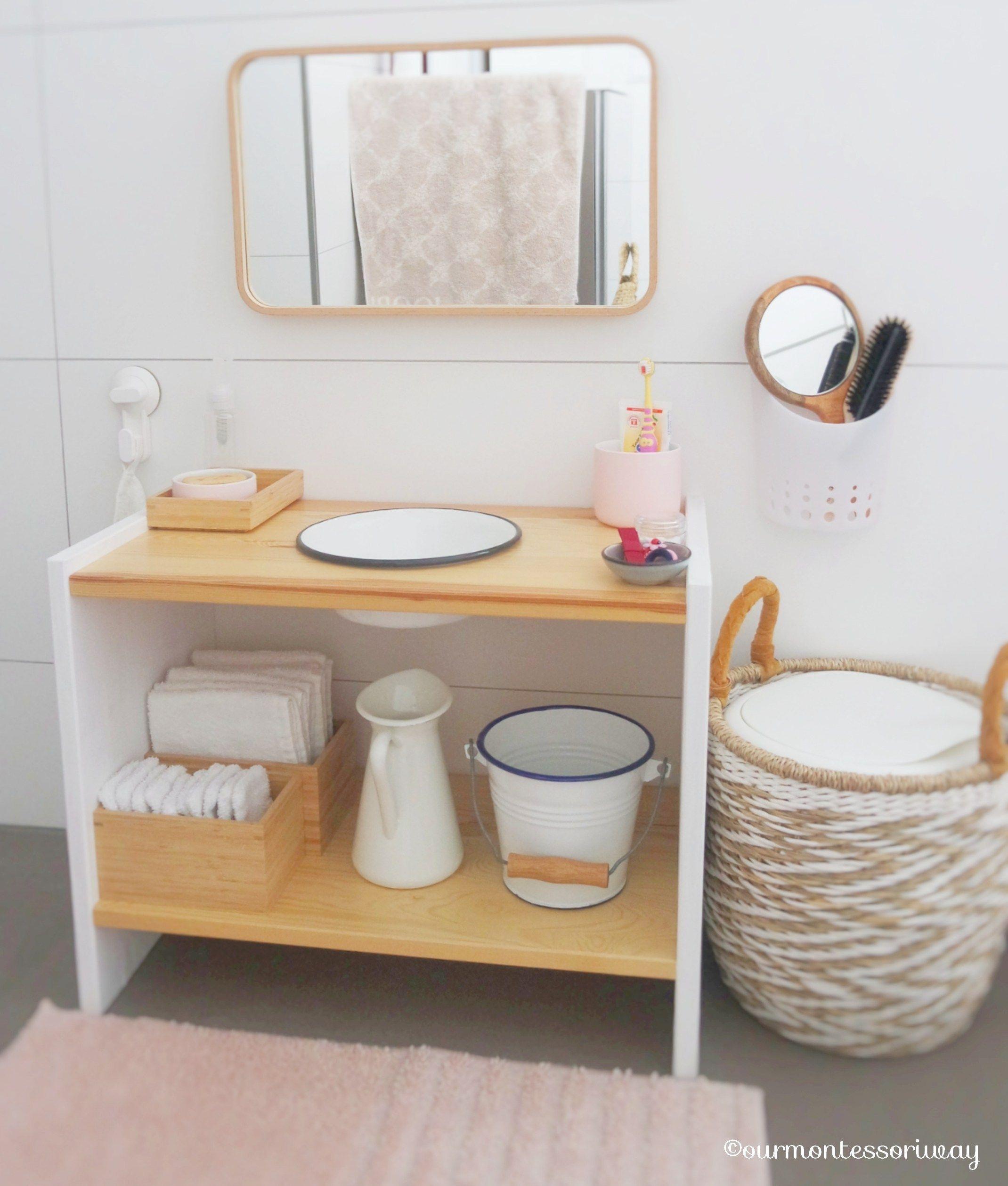 Cosimas Bereich im Badezimmer mit 18 Monaten (Teil 1): Unser Montessori Waschtisch ⋆ OURMONTESSORIWAY