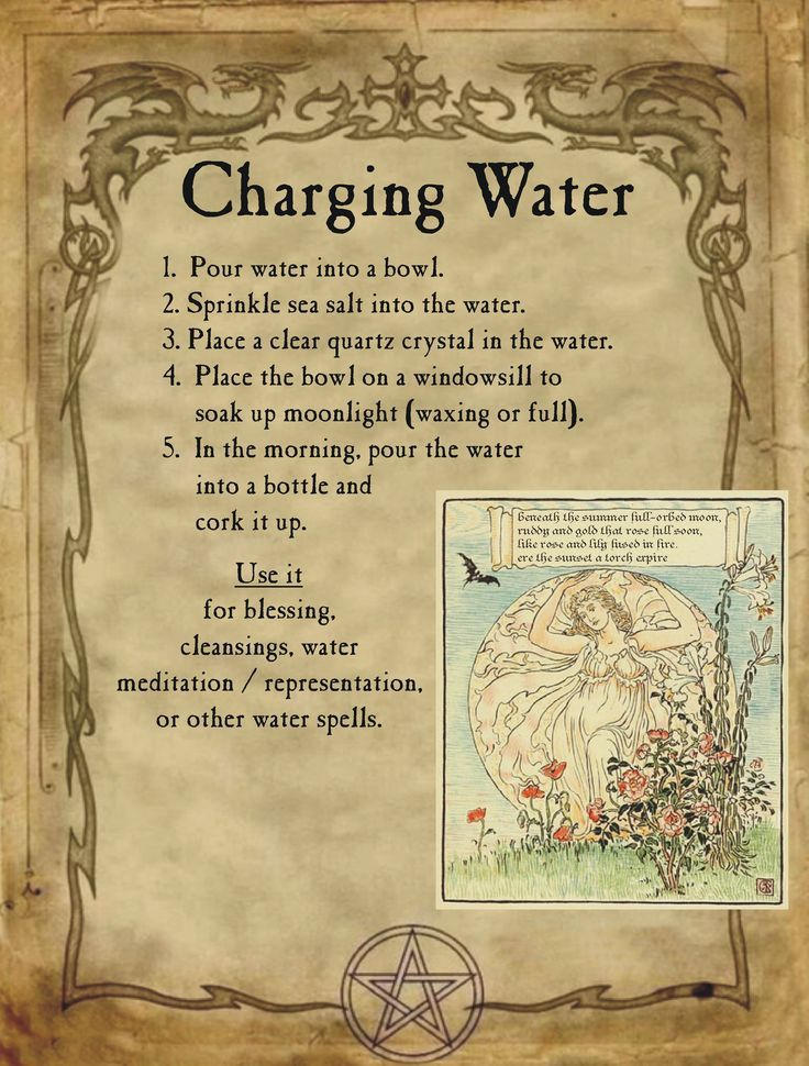 Charging water for homemade halloween spell book