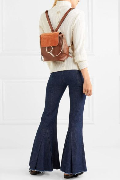 Chloé - Faye Small Leather And Suede Backpack - Brown  0c65ca940aaf1