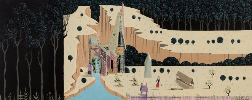 Animation Art Concept Art Eyvind Earle Sleeping Beauty Briar Rose And Woodcutter Scottage Concept Pa Sleeping Beauty Art Disney Artists Disney Sleeping Beauty