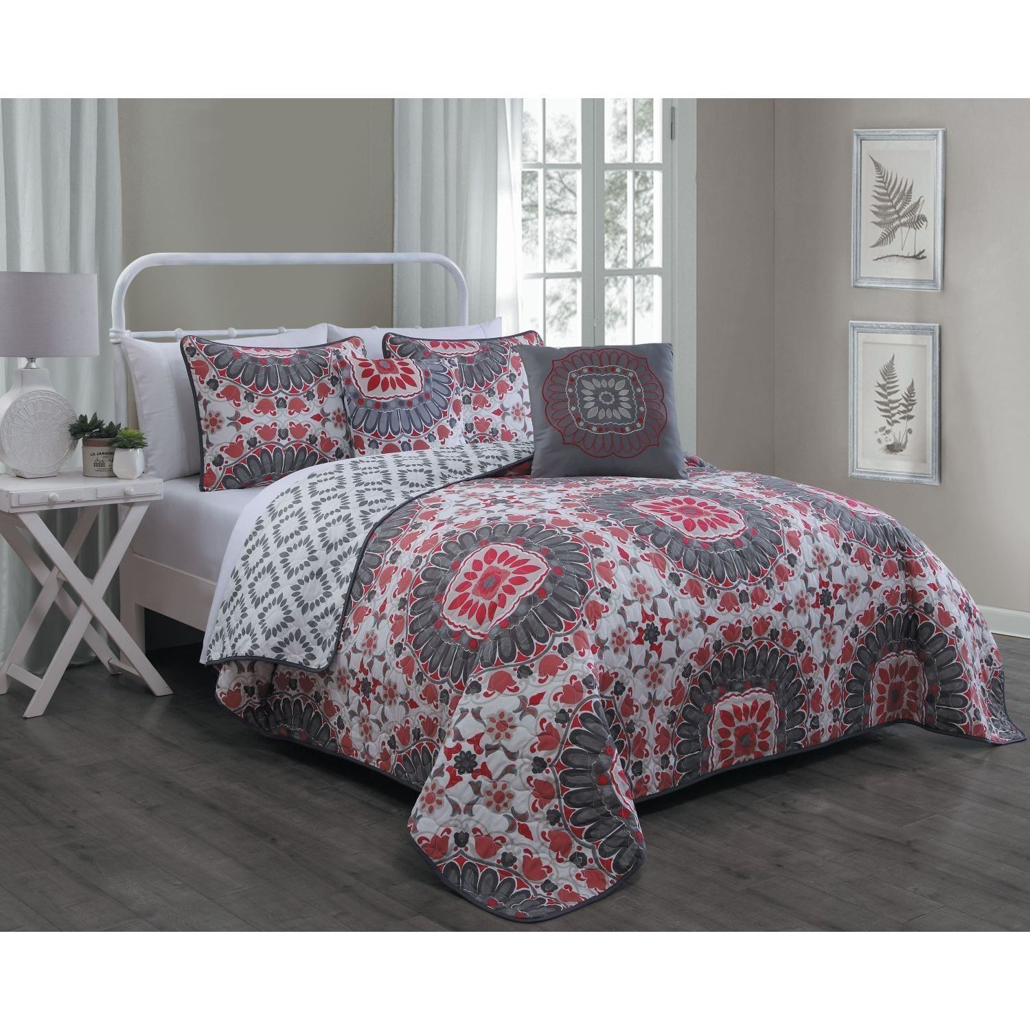 quilt red bedding set duvet product burgundy and damask paisley medallion print cover boho bohemian luxury shams