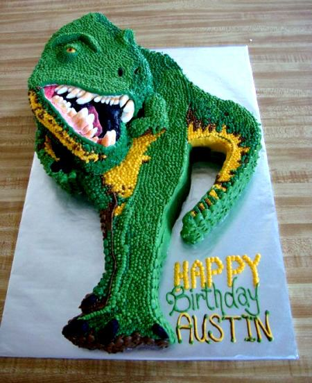 Buttercream TRex cut out cakewatch out he might bite you back