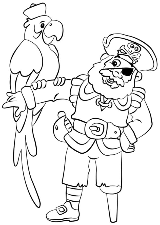 Le capitaine des pirates et le perroquet coloriages pirate coloriage et pirates dessin - Perroquet a colorier ...