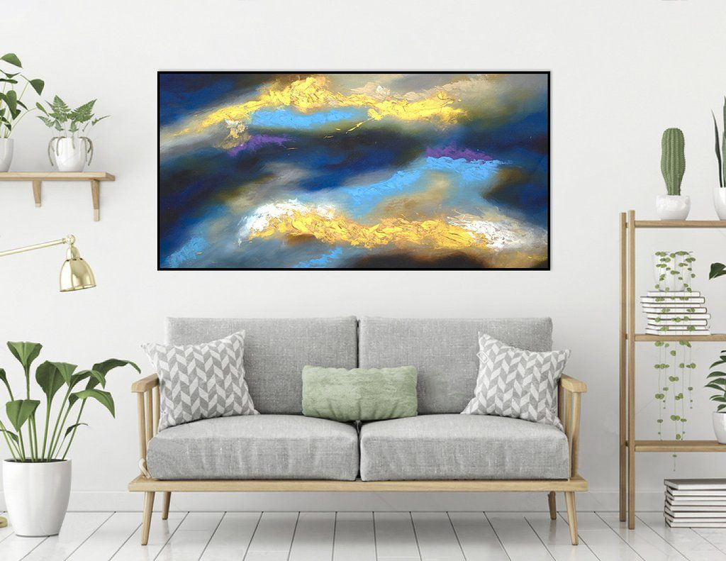 Extra Large Abstract Painting On Canvas Panaromic Wide La0563b