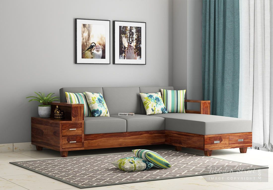 Buy Solace L Shaped Wooden Sofa Teak Finish Online In India In
