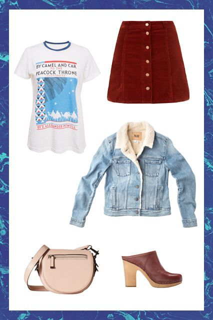 "How To Dress For EVERY Fall Temperature #refinery29  http://www.refinery29.com/fall-weather-appropriate-outfits#slide-1  The Forecast: '70s & SunnyFor those random days the cold season decides to be summer again, you've got to have a backup outfit to embrace it. Take on the unseasonably warm temps with your fave A-line miniskirt sans tights, a vintage tee, and (gasp!) backless mules. A lined denim jacket will ward off any post-sunset chills.<a href=""http://www.frontrowsh..."