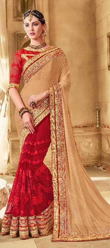 2c5dd84fce 196903 Beige and Brown, Red and Maroon color family Embroidered Sarees,  Party Wear Sarees in Faux Georgette, Net fabric with Border, Machine  Embroidery, ...