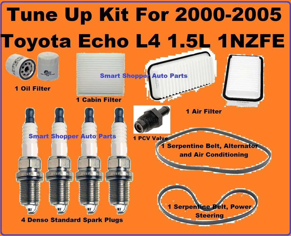 Tune up 00 05 toyota echo l4 spark plug eng filter pcv valve oil drain