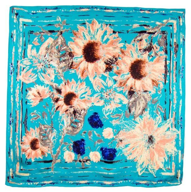 Foulard en soie satin turquoise marguerites premium 90 x 90 cm ... 57443e74557