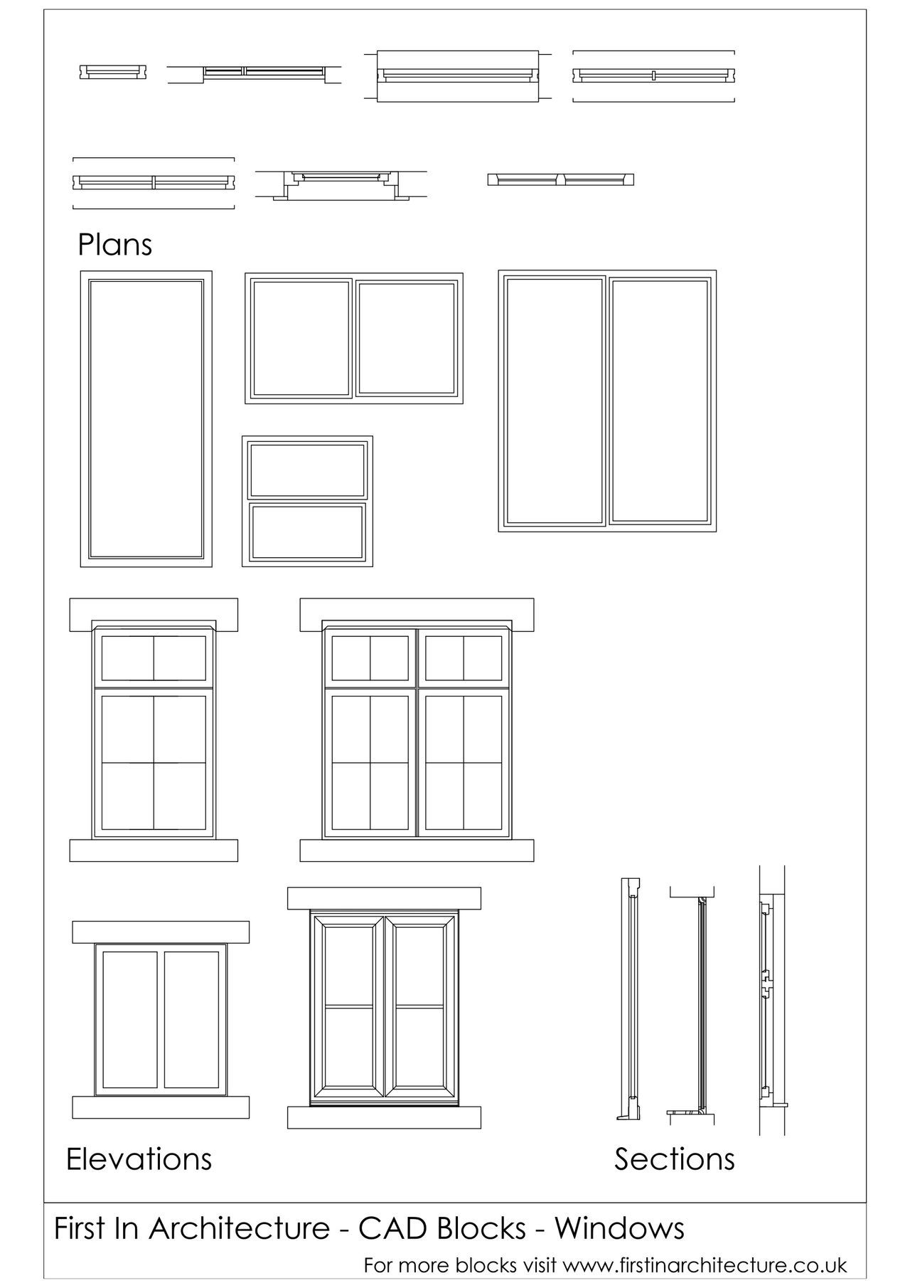Cad blocks windows window detailed drawings and for Window elevation