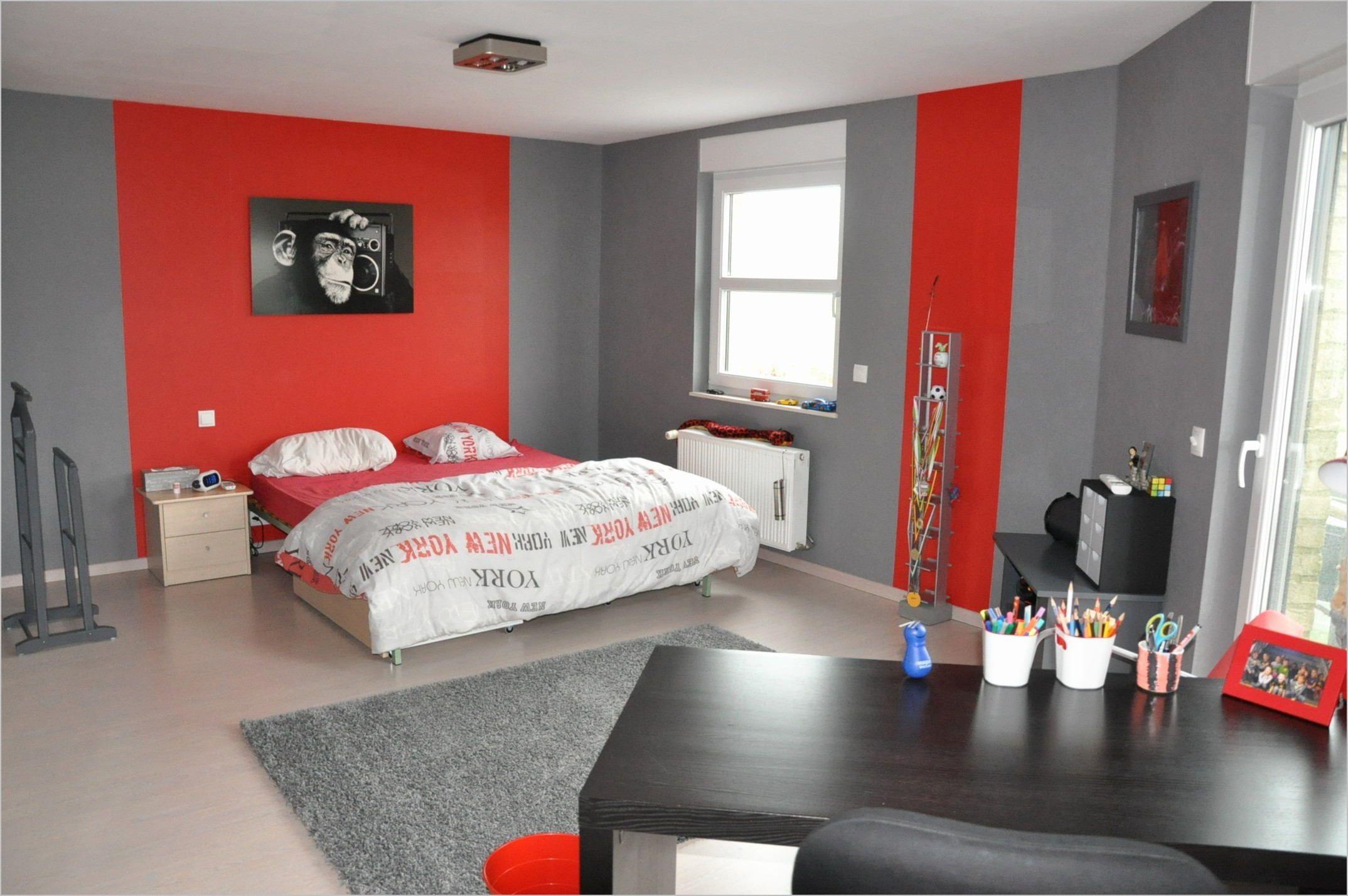 deco chambre ado fille rouge et gris
