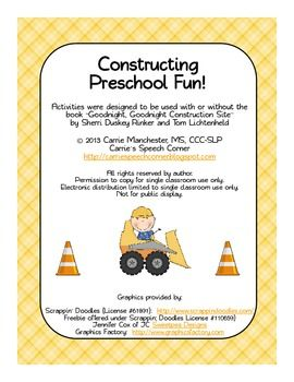 """This packet was developed to be used in conjunction with the book """"Goodnight, Goodnight Construction Site,"""" but can be used on its own as well.  The activities were developed to promote basic preschool skills. Contents include:  -Photo Flash Cards:  print one copy for vocabulary flashcards or two copies for a memory game-Lotto Game for matching skills/vocabulary-Cut & Paste Scene for practicing scissor skills/following directions,-Counting Cars Clip Cards for practicing counting and 1:1 c..."""