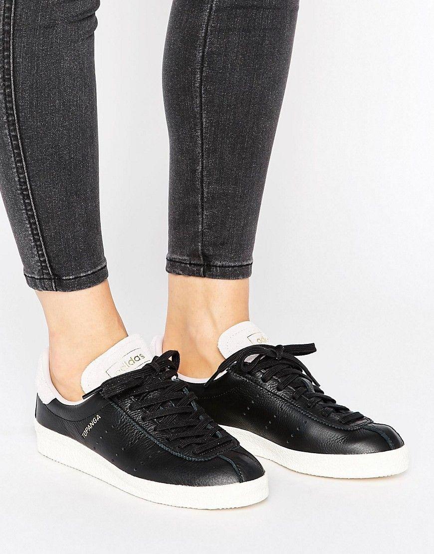 sports shoes 61871 8d416 Zapatillas unisex de cuero negro con ribete de ante rosa Topanga de adidas  Originals. Zapatillas de deporte de Adidas, Exterior de cuero mate, ...