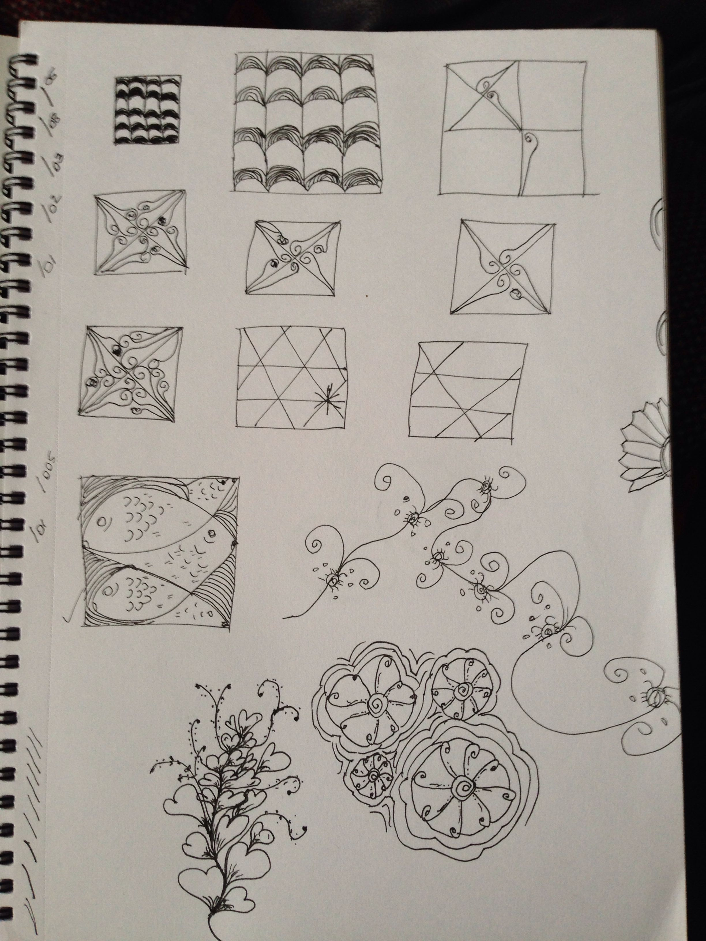 Practice tangles in note pad, some I found easier than others!