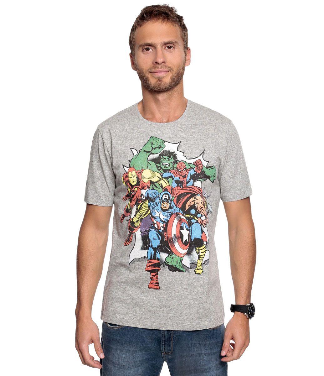 505a07216 Camiseta Masculina com Estampa dos Personagens de Quadrinhos Super Heróis -  Lojas Renner