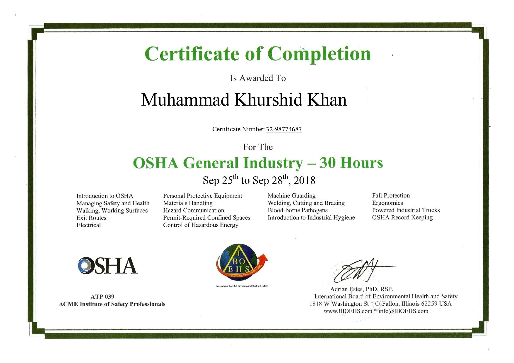 INTRODUCTION The OSHA 30hour General Industry Outreach