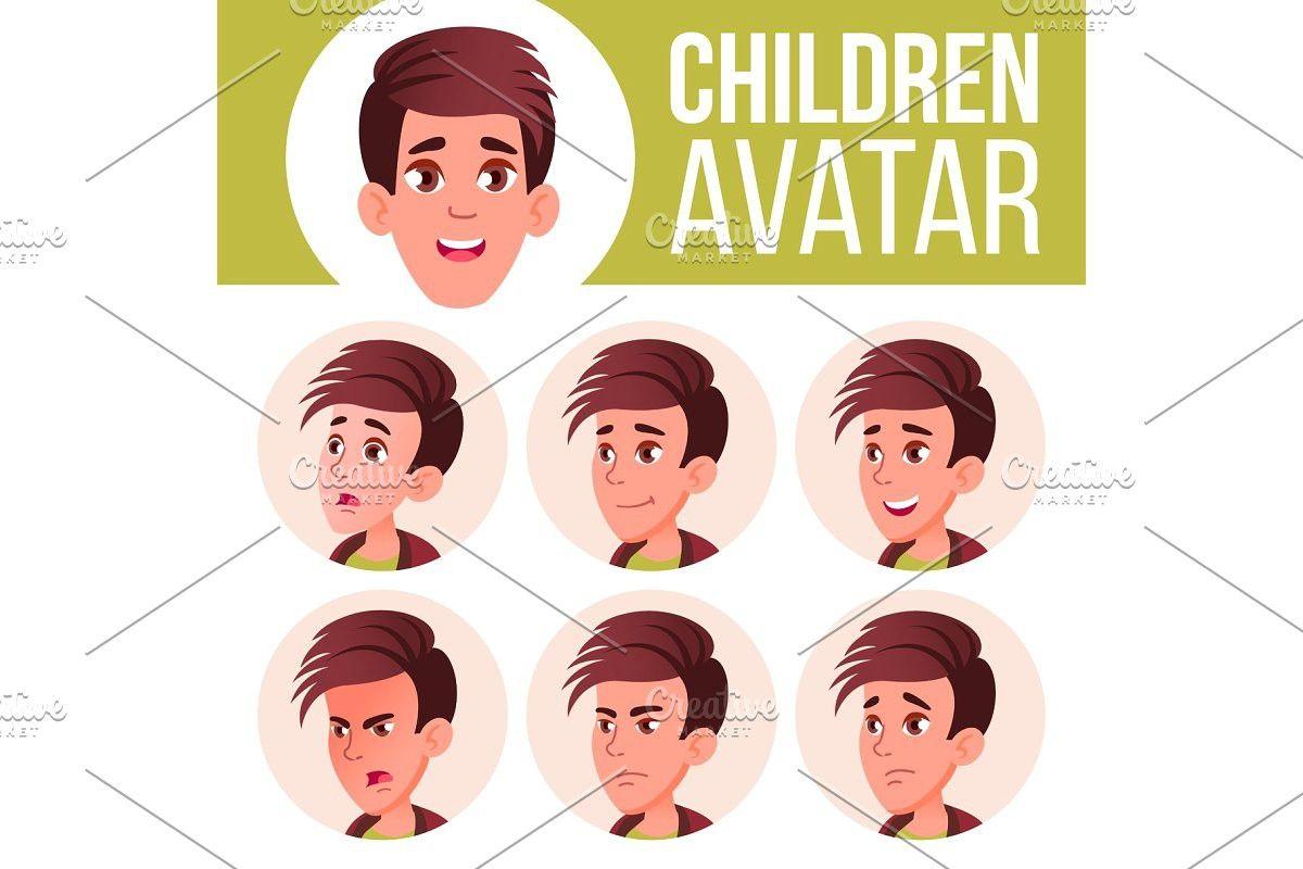 Boy avatar set kid vector high kids vector avatar kids