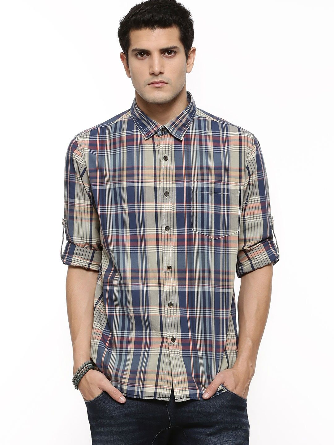 e6993e95d37 Latest Collection Slim Fit Checked Casual Cotton shirts of Flying Machine  Regular Fit Full Sleeve Casual