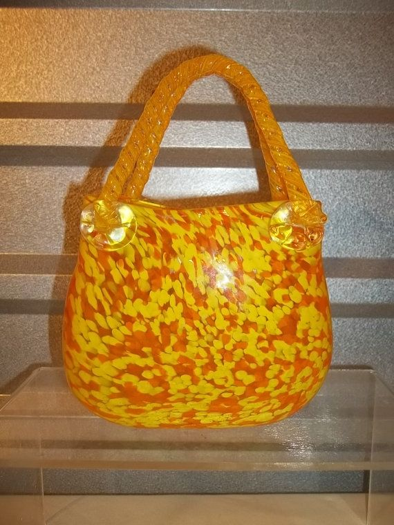 Murano Glass Vase Yellow Murano Art Glass Large Glass Handbag Vase
