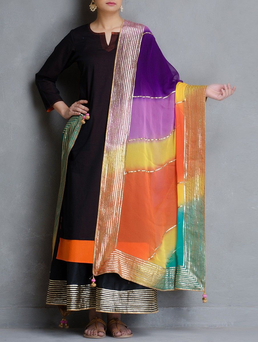 49eb89f6aa Multicolor Leheriya Gota Patti Chiffon Dupatta with Tassels on Jaypore.com