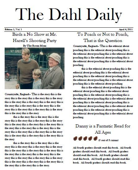 Danny The Champion Of The World Novel Unit Newspaper Article