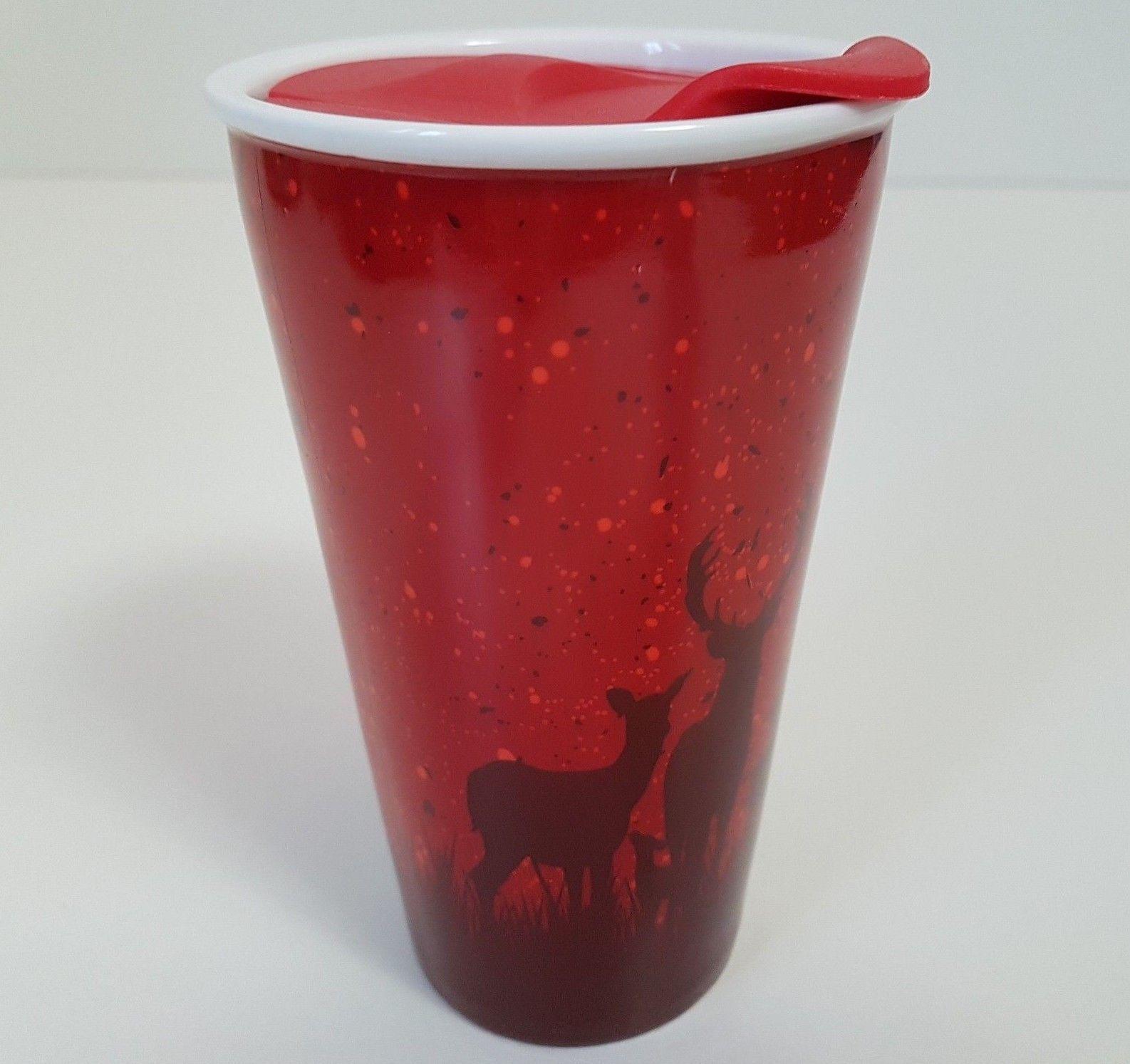 Tim Hortons Coffee Ceramic Travel Mug Cup Red Deer Limited