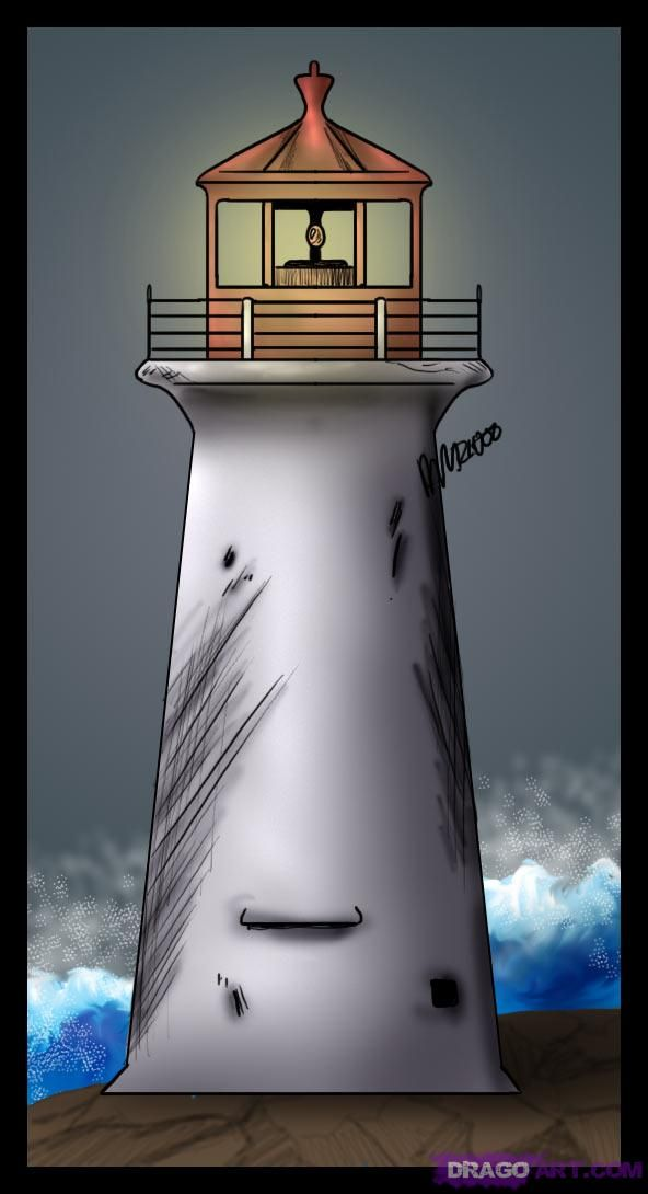 How to draw a simple lighthouse
