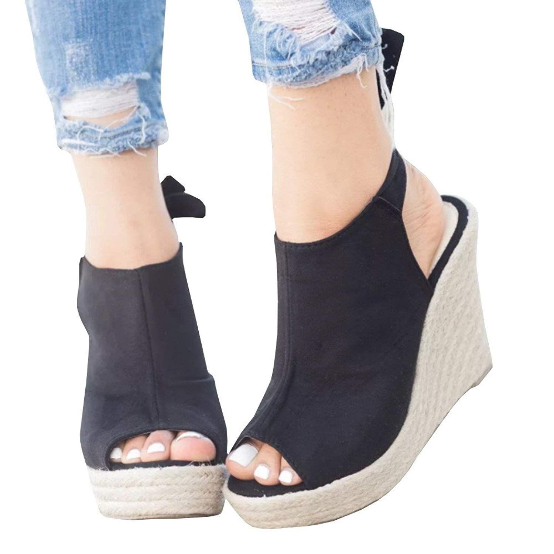 631c26eb2fbc9 Seraih Womens Summer Wedge Sandals Espadrille Open Toe Heels Strappy Tie  Knot Closure Shoes. Please choose . Women s Shoes