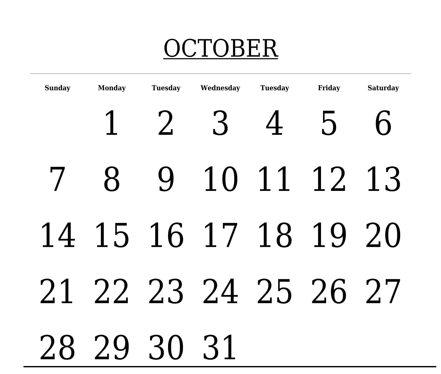 free printable template october 2018 calendar october 2018