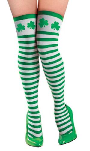 Patrick/'s Day Adult Stockings White and Green Irish St Shamrock Stockings
