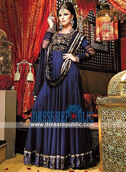 Dark Navy Crinkle Chiffon Anarkali Dress by Neeta Lulla