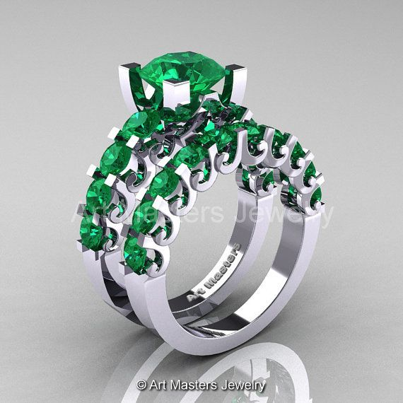 Modern Vintage 14K White Gold 3.0 Ct Emerald by artmasters on Etsy, $1799.00