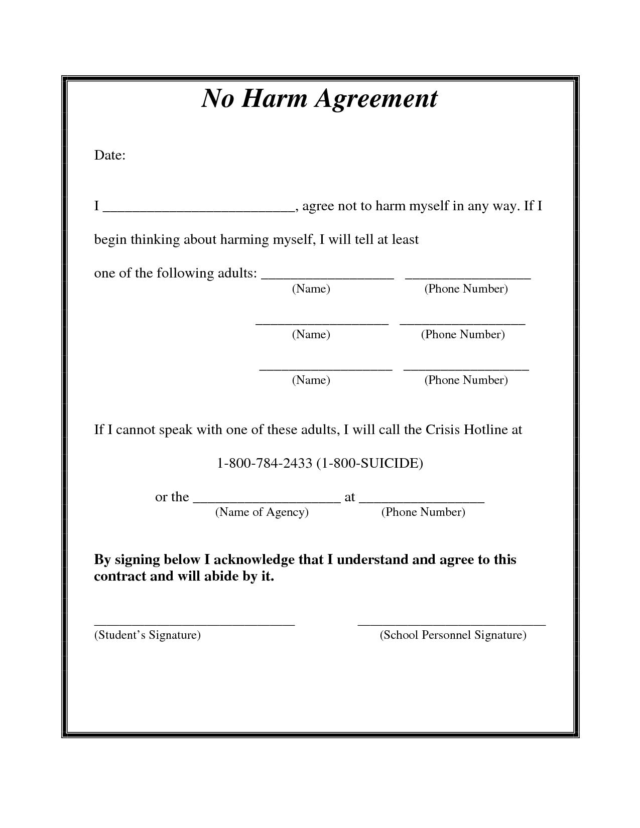 Self Harm Agreement