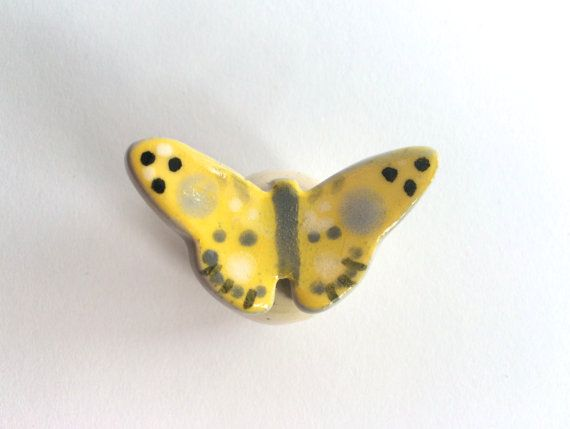 Yellow Butterfly Knob by PeachBlossomStudio on Etsy