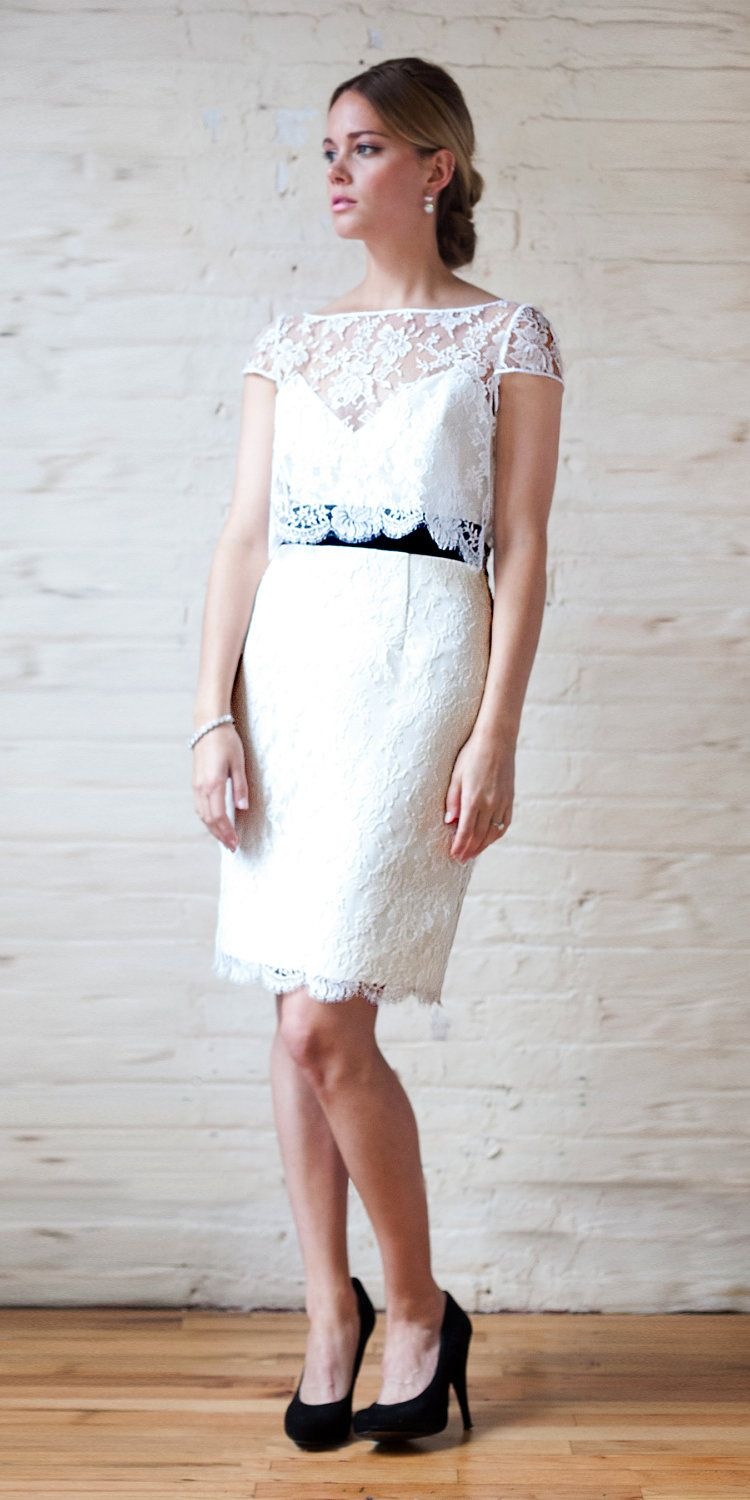 """1960's Inspired Short Lace Cocktail Wedding Dress, """"Ann"""