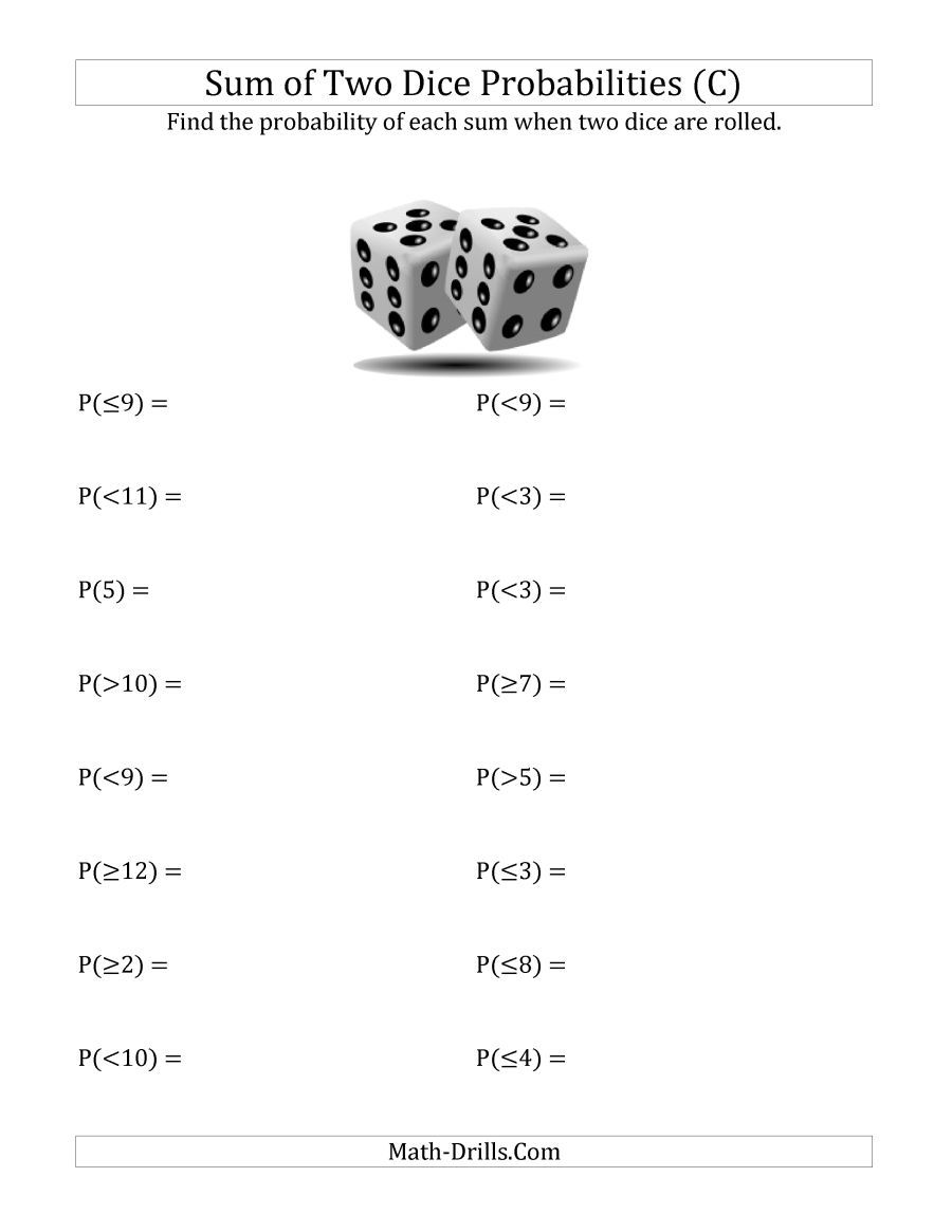 The Sum of Two Dice Probabilities (C) Math Worksheet from the Statistics  Worksheets Page at Math-Drills…   Probability worksheets [ 1165 x 900 Pixel ]