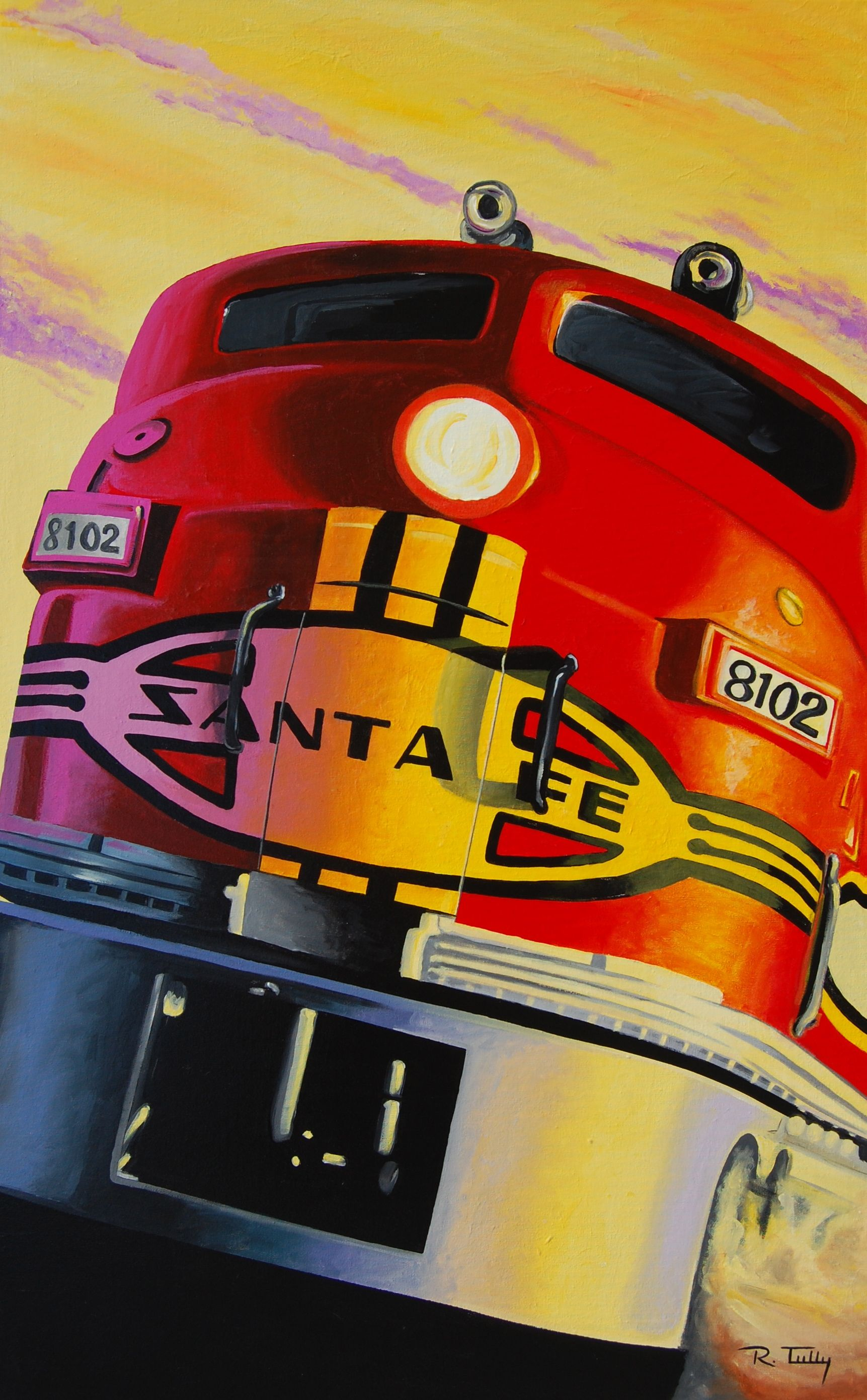 Canvas Santa Fe >> Santa Fe Super Chief Painting Acrylic On Canvas 30 X 48 Artist