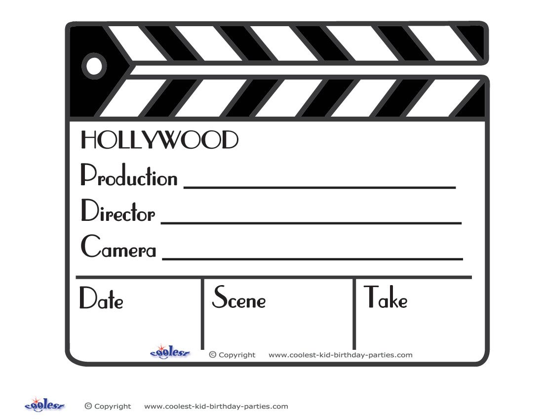 Printable Clapboard Decoration Movie Themed Party Oscars Theme Party Hollywood Party Theme
