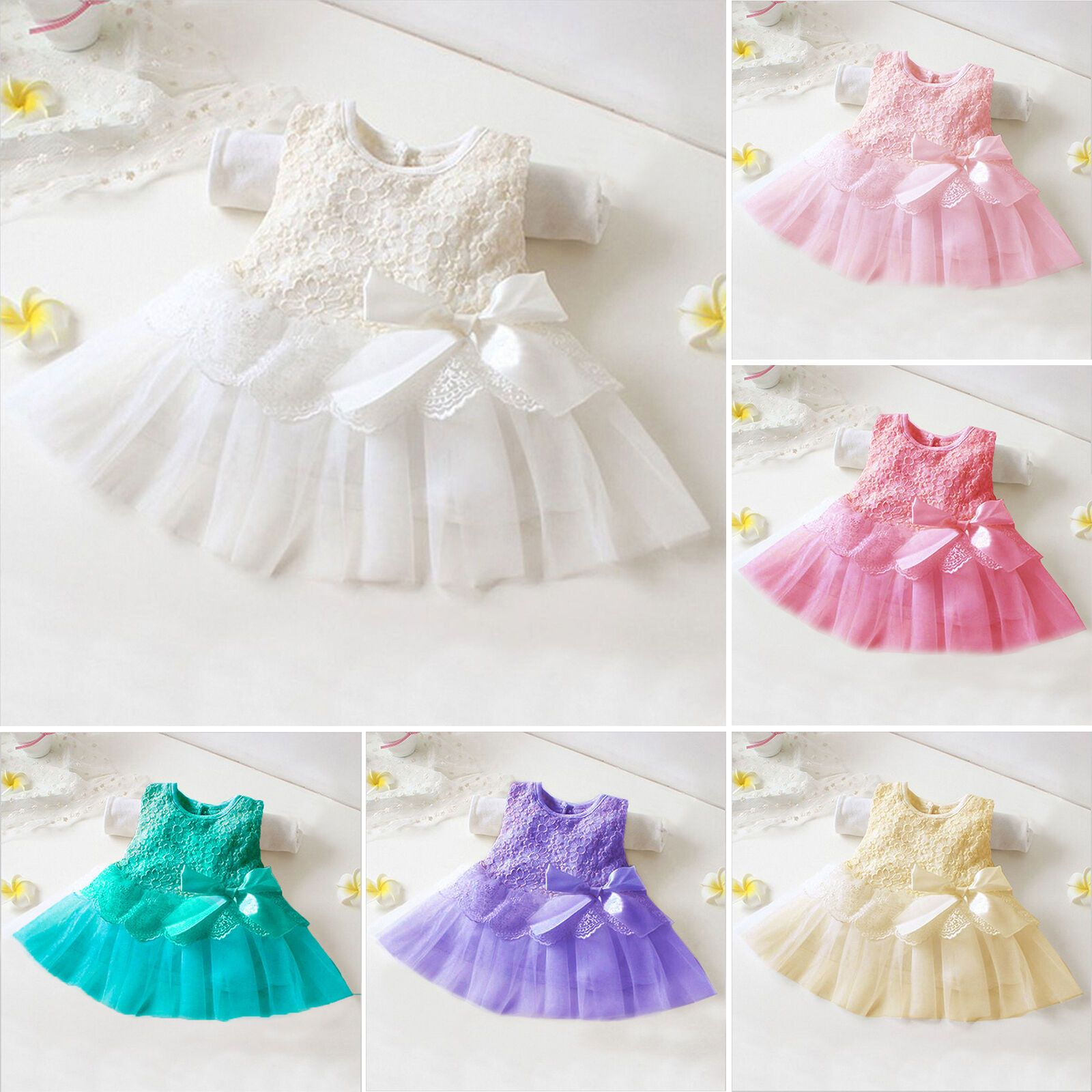 Girls Baby Princess Floral Dress Kids Party Pageant Lace Bow Tulle Tutu Dresses