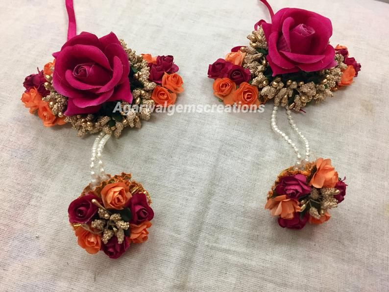 Christmas Handmade Indian Multi-Color Floral Jewelry For Women And Girls Mehandi Haldi