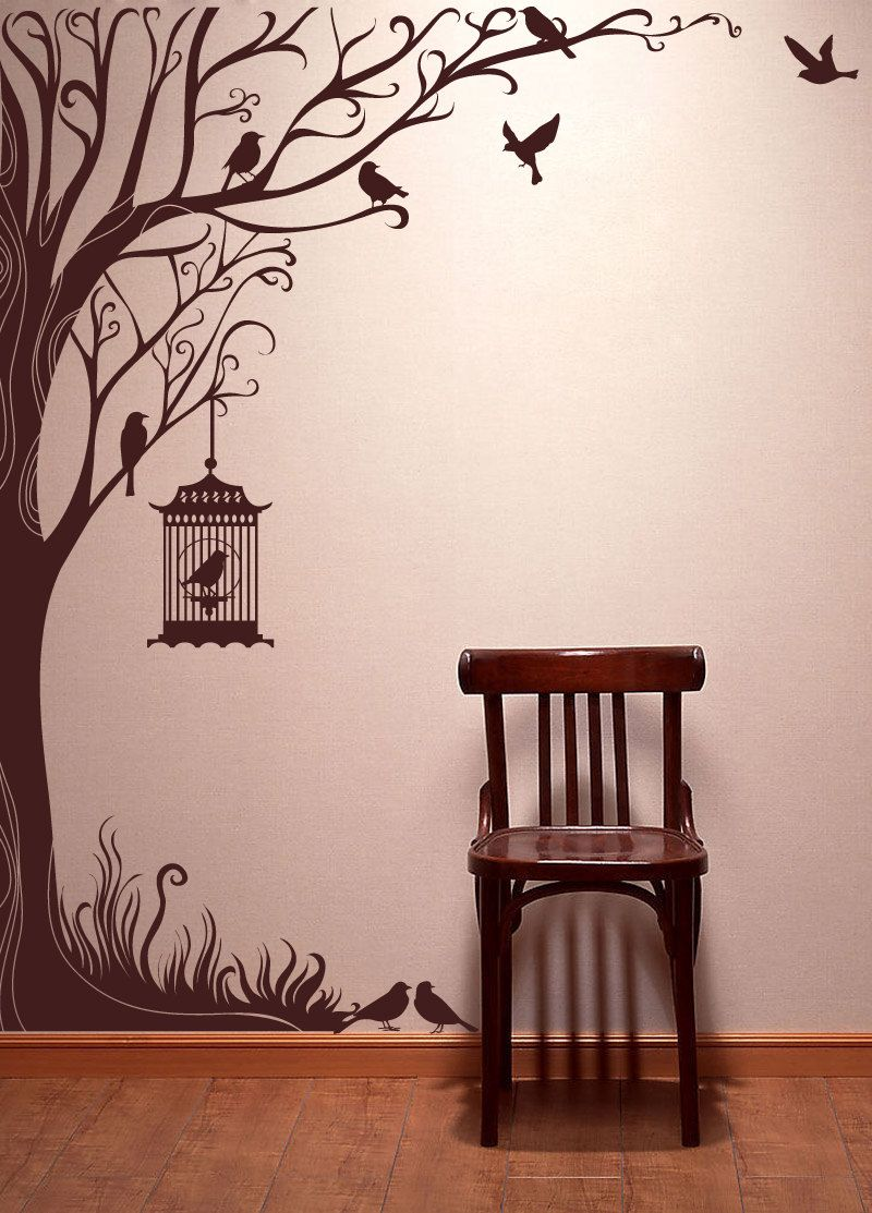 Popular Items For Nature Decals On Etsy Stencils Wall Diy Wall Painting Tree Wall Stickers