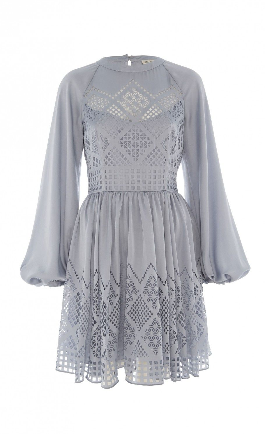 Temperley London Azure Long Sleeved Dress in Blue (Pale Blue)