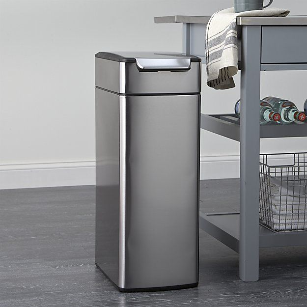 Simplehuman 40 Liter 10 5 Gallon Slim Touch Bar Trash Can Kitchen Trash Cans Crate Barrel Crates